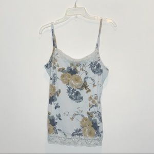 4/$10 Maurices White Gray Tan Floral Tank Top